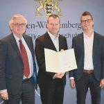 Ministerialdirektor Julian Würtenberger, Martin Lampe und Christhard Deutscher, EDEKA Südwest
