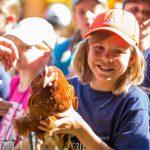 Kinder hält das Huhn in der Hand